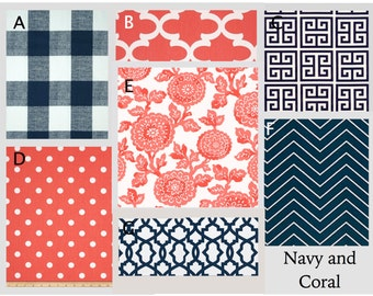 Custom Modern Baby Crib Bedding -Design Your Own Bedding-Dorm bedding- glider Cushions- Navy and Coral