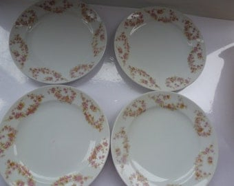 Vintage Meito China Made in Japan 4 Salad Plates by Meito Pink Rose Pattern