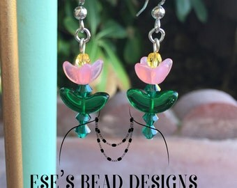 Colorful Flower Earrings made with Czech Glass Petals and Flowers and Swarovski Crystals