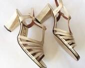 1970's Metallic Gold T-Strap Heels/ 70's Open Toe Sandals