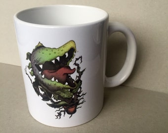 Audrey Two Inspired Original Fan Art Mug Hand Drawn Little Shop of Horrors