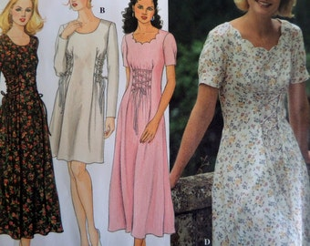 Simplicity 9887 LACING DETAIL DRESS Sewing Pattern Miss 12-14-16; 1996 Scallop Neck Midi Dress Pattern. Vintage Patterns at WhiletheCatNaps