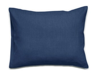 Indigo blue pillowcases Soft linen Standard, King or Euro size pillow shams with envelope closure