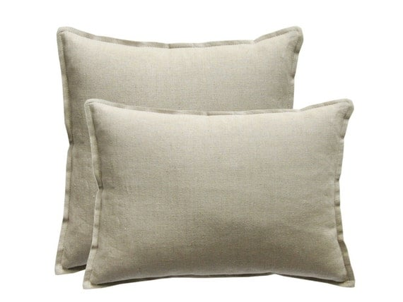 Natural linen pillow cover Washed linen pillows Lumbar pillow covers Square custom size cushions Natural grey soft pure linen pillow