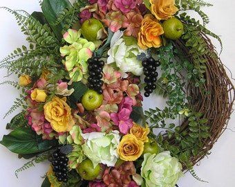 Tuscan Wreath, Grape Wreath, Summer Wreath, Apple Wreath, Fruit Wreath, Door Wreath