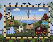 RESERVED FOR DOREENPITTROFF - Summer Americana Folk Art Painting Saltbox Houses, Rural Scene, Crows, Flowers, Sheep, Red Barn, Sailboats