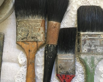 Vintage Soft Old Collection of Paint Brushes