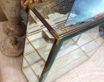 Vintage Large Beveled Glass Mirror Display Case