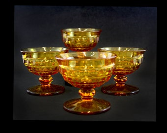 Vintage Amber Fostoria American Sherbet Glasses, Set of 4 (E6687)