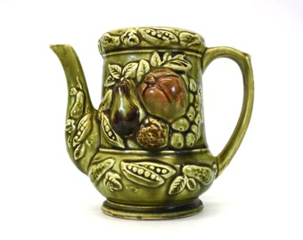 Vintage Green Ceramic Teapot with Fruit Motif without Lid (E4965)