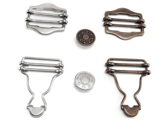 Dungaree Fasteners pack - includes button and slider braces replacement repair, 30mm