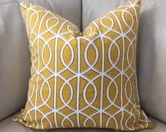 Two, Yellow Trellis Pillow, 20X20