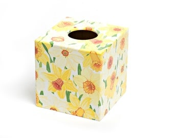 Yellow Daffodil Tissue Box Cover wooden handmade