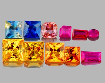 Bright Mix of Colored Sapphire Faceted Fancy Shapes , 11 Piece Lot 1.90 Carats T.W. Unheated, Natural