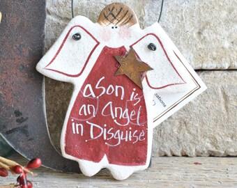 Son Gift Angel Salt Dough Ornament / Birthday or Christmas Hanging Salt Dough Ornament