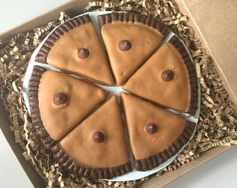 Whole Peanut Butter Pie - Pie Slices for Dogs - Carob Cookies topped with Peanut Butter Icing - 6 pie slices - Gourmet Dog Treats