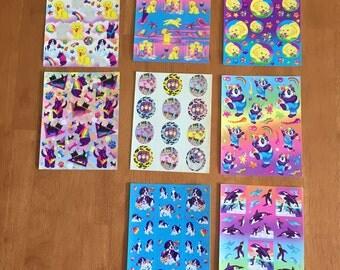 Lisa Frank stickers lot penguins dogs whales scotties pandas rainbow 1980s vintage piano music sandcastle puppies ocean penguins