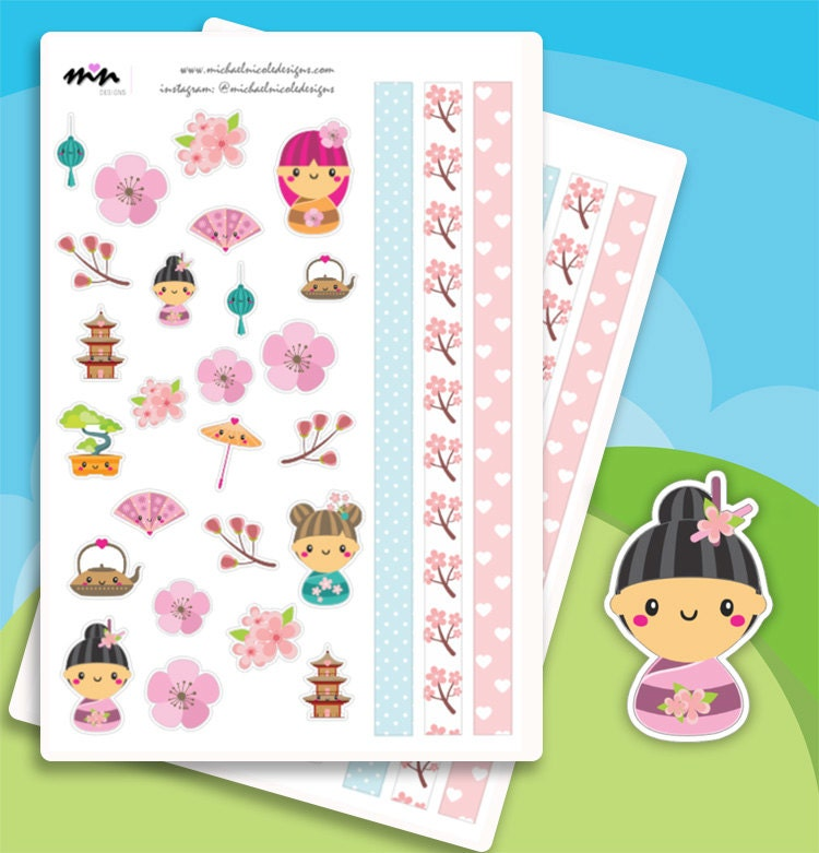 Japanese Geisha Themed Kawaii Planner Stickers Perfect For