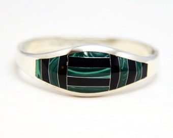 Vintage Sterling Silver Taxco Clamper Hinged Bangle with Malachite & Onyx Inlay