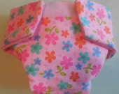 Ready to Ship #3 Doll diaper tri flowers triple  cloth diaper adjusts washable fits cabbage patch bitty baby fur real monkey stuffed animals
