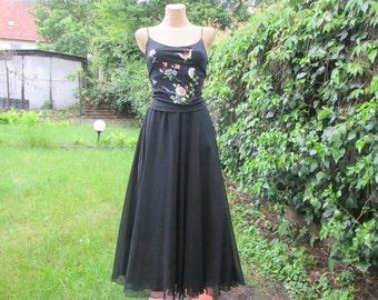 Long Skirt / Circle Skirt / Skirt Vintage / Maxi Skirt /Long  Full Skirt / with Lining / Black / Size EUR40 / 42 / UK12 / 14