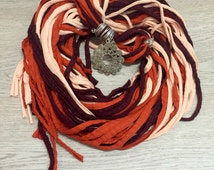 Jersey Yarn Scarf, Fringie Neckwear, Womans Accessories, Fall Colors, Autumn Fashion, Handmade Scarf, Creative Accesories Woman
