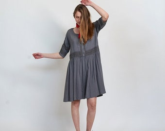 Summer SALE Placket trim midi dress -Grey midi dress.