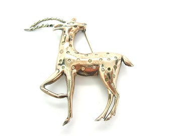 Gazelle Brooch. Exotic Animal Figural. Sterling Silver Gold Vermeil & Rhinestone Jewelry. 1940s Vintage Art Deco Retro Jewelry.