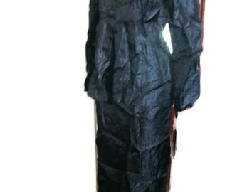 1980s Donna Karan DKNY crinkle nylon black two piece dress / occasion suit lightweight perfection