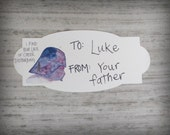 Set of 12- I find your lack of Cheer Disturbing -Cardstock Gift Sticker To, From-Watercolor print-Star Wars Darth Vader inspired