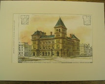 U.S. Custom House, Court House, Post Office, Albany, New York, 1877, Jas. G. Hill, Architects. Hand Colored, Original Plan, Architecture