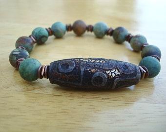 Men's Spiritual Tibetan Bracelet with Semi Precious Matte Opal, Tibetan Dzi Fire 9 eye Agate, Hematites and Copper-  Yoga Boho Man Bracelet