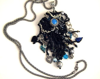 Black jewelry, Black necklace, Gift for her, Long necklace, Black and blue, Beaded jewelry, Handmade beaded necklace, Freeform peyote