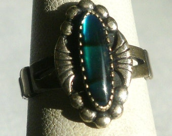 Vintage Sterling Silver Blue Stone Ring-Size 5