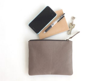 Grey Zipper Pouch. Black Leather Pouch. Black Leather Wallet. Soft Pebbled Leather. Leather Wallet. Wedding gift. Bridesmaid Gift. Gift Bag