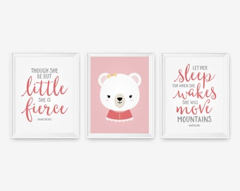 Though she be but little, She is Fierce, Mountains Shakespeare, Let her sleep - Baby Girl Bear Nursery Decor Set of three