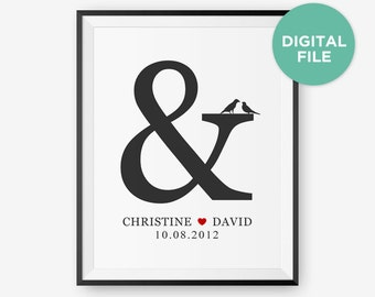 Printable Personalized Wedding Gift, Custom for Anniversary or Valentine, Ampersand Art Print