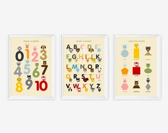 English Alphabet, Number & Shape Posters, Kids wall art animal art print set of 3, Nursery Art, Children Room Decor, Classroom Decor