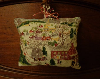 Primitive Vintage Bark Cloth GRANDMA MOSES Christmas Pillow Tuck (Deep Snow)/Country/Cabin/Rustic