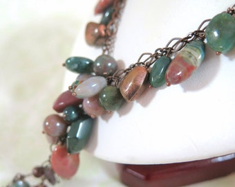Gorgeous Adjustable Earth-Tone Stone and Copper Necklace