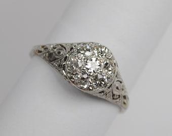 Art Deco Platinum Diamond Cluster Ring .70ctw