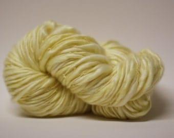 Handspun Thick and Thin Yarn Hand Dyed Tencel Merino Superwash Slub tts (tm) Lemon Chiffon