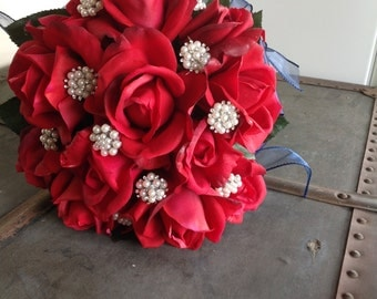 Chic Red white and blue bridal bouquet,patriotic bouquet, military bride,American bride, Patriotic wedding,red, white and blue wedding