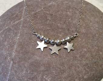 Gemma - sterling silver necklace with silver nuggets and stars