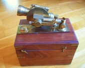 Vintage wooden boxed  brass SEXTANT marine nautical