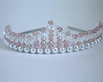 Peach and Clear Crystal Princess Tiara