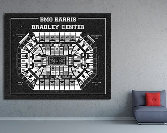 Vintage Print of Bankers Life Fieldhouse Seating Chart on Premium Photo Luster Paper Heavy Matte Paper, or Stretched Canvas. Free Shipping!