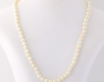 """Classic Cultured Pearl Necklace 19 1/4"""" - 14k Yellow Gold Knotted Strand June Q1933"""