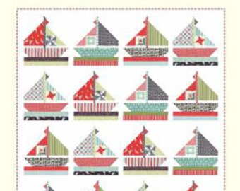 "Smooth Sailing Quilt Pattern, CW 976, by Bonnie of Cotton Way, 83"" x 91"" , Colorful Sailboat Quilt Pattern"