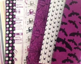 Lost and Found Halloween Bundle of Seven Different Riley Blake Fabrics, My Mind's Eye, Magenta Colorway
